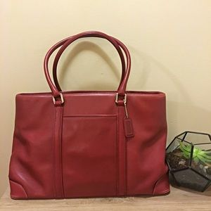 Vintage COACH Hampton Large Red Leather Tote